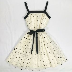 Gap Kids Cream & Black Polka Dot Dress Sz Medium